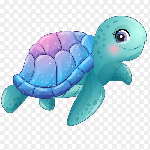 Cute little turtle with watercolor illustration on transparent background PNG