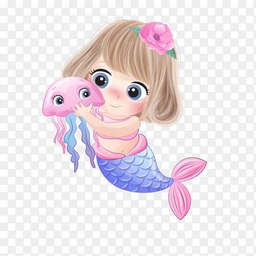 Cute mermaid hugging a little jellyfish on transparent background PNG
