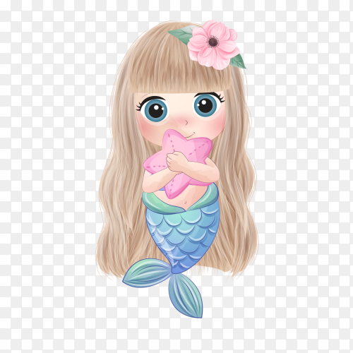 Cute mermaid hugging a starfish on transparent background PNG