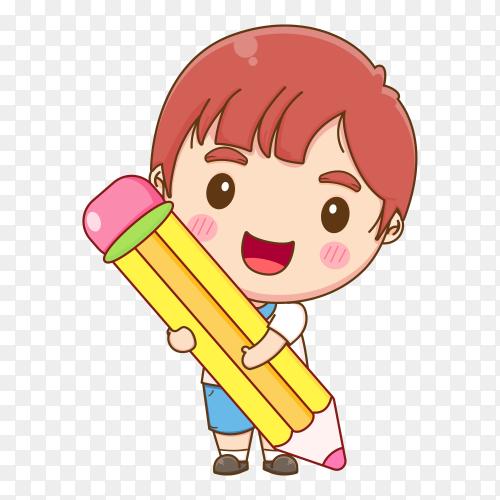 Cute student holding big pencil cartoon illustration on transparent background PNG