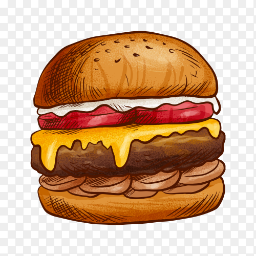 Delicious burger on transparent background PNG