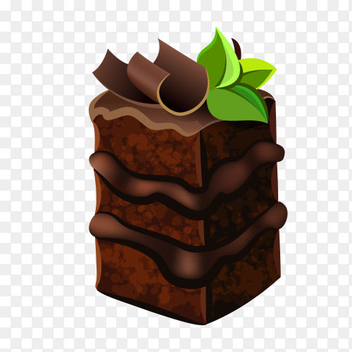 Delicious chocolate cake on transparent background PNG
