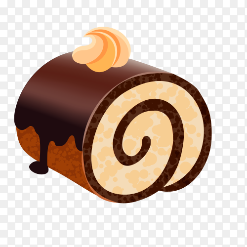Delicious chocolate roll cake on transparent background PNG
