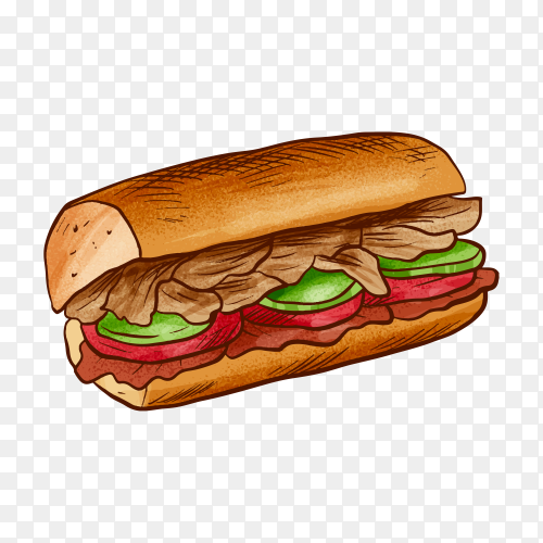 Delicious fast food sandwich on transparent background PNG