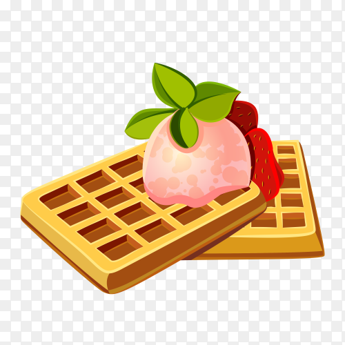 Delicious waffle on transparent background PNG