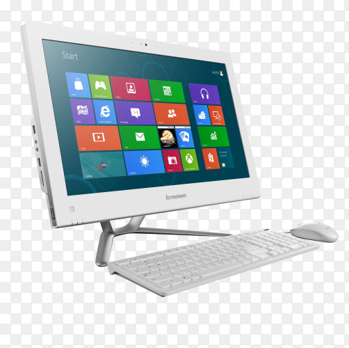 Desktop and keyboard and mouse isolated on transparent background PNG