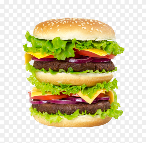 Double burger with cheese, tomato ,cutlet and onions on transparent background PNG