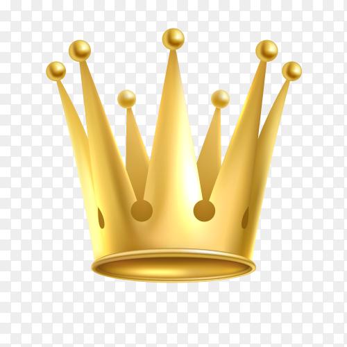 Elegant royalist golden crown on transparent background PNG