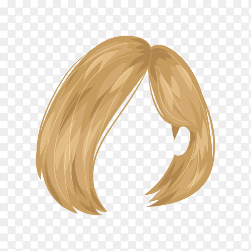 Female blond wig hair on transparent background PNG