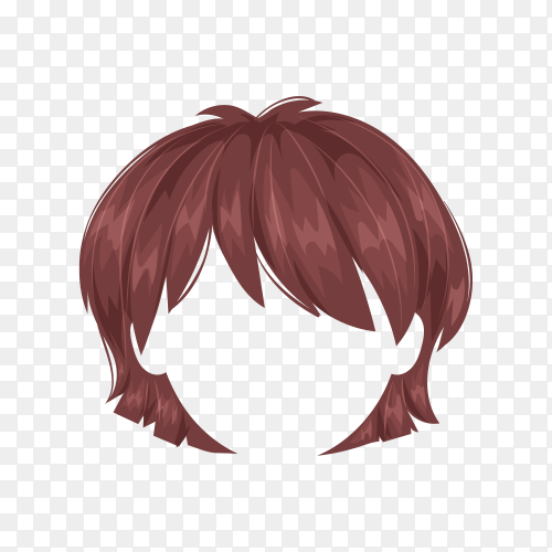 Female wig hair isolated on transparent background PNG