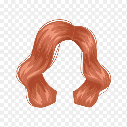 Female wig hair on transparent background PNG