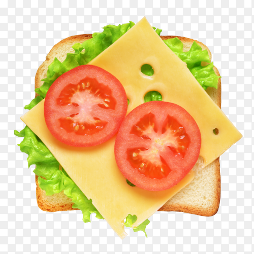 Fresh sandwich with vegetables and tomatoes on transparent background PNG