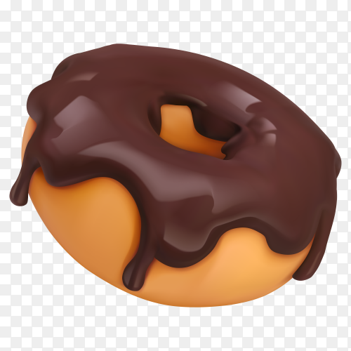 Fresh tasty donut with chocolate on transparent background PNG