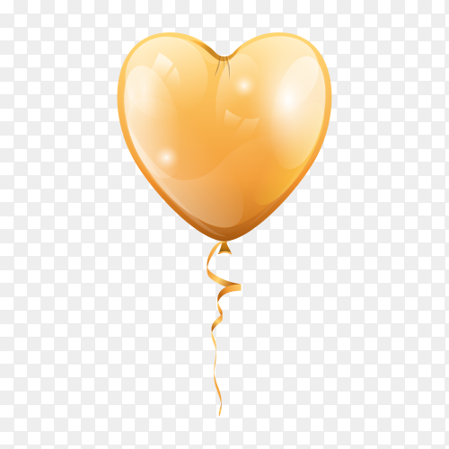 Gold balloon in heart shape on transparent background PNG