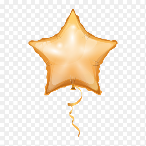 Gold balloon in star shape on transparent background PNG