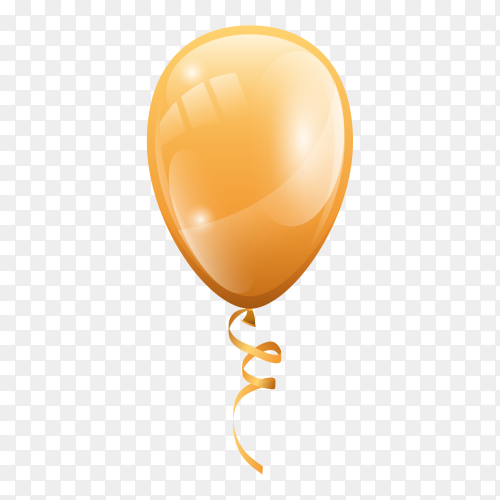 Gold balloon isolated on transparent background PNG