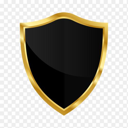 Gold black shield on transparent background PNG