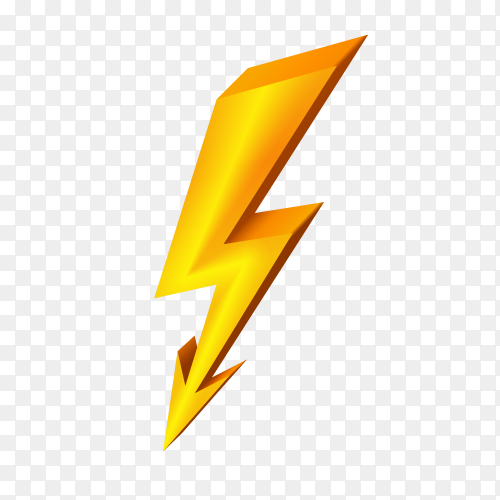 Gold lightning icon illustration on transparent background PNG
