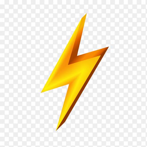 Gold lightning icon on transparent background PNG