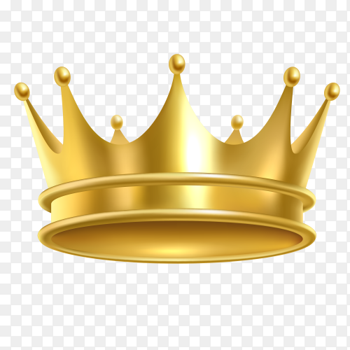 Golden crown isolated on transparent background PNG