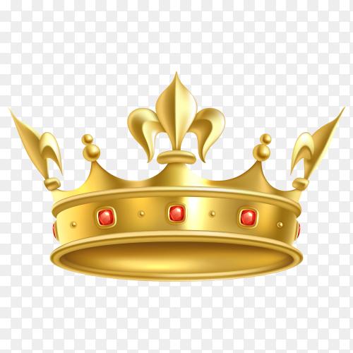 Golden crown with gem on transparent background PNG
