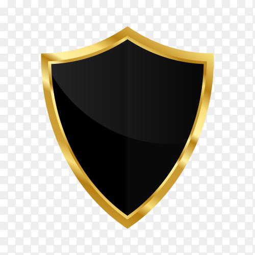 Golden shield design on transparent background PNG