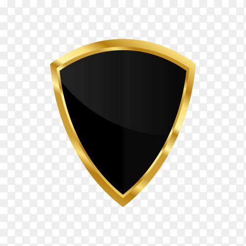 Golden shield retro design  on transparent background PNG