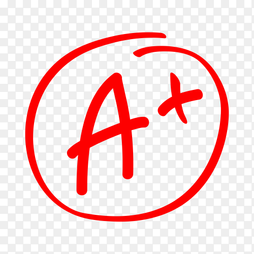 Grade result. hand drawn grade in red circle. test exam mark report on transparent background PNG