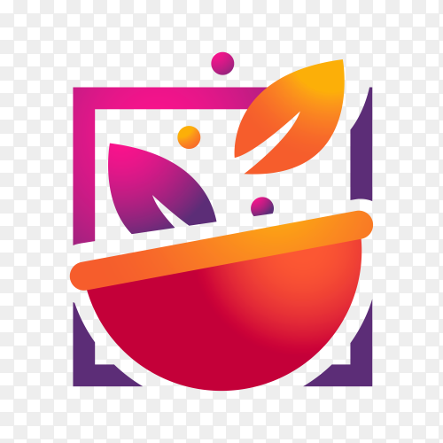 Gradient restaurant logo template on transparent background PNG