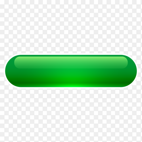 Green Glossy web button on transparent background PNG