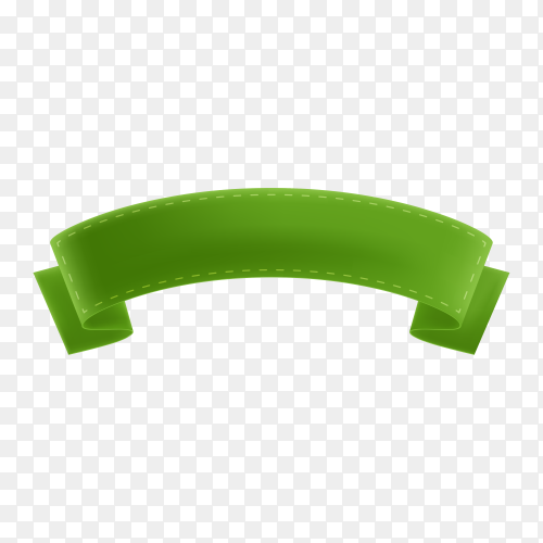 Green banner and ribbon on transparent background PNG