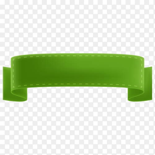 Green empty banner and ribbon on transparent background PNG