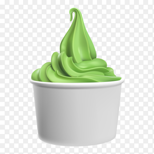 Green ice cream illustration on transparent background PNG