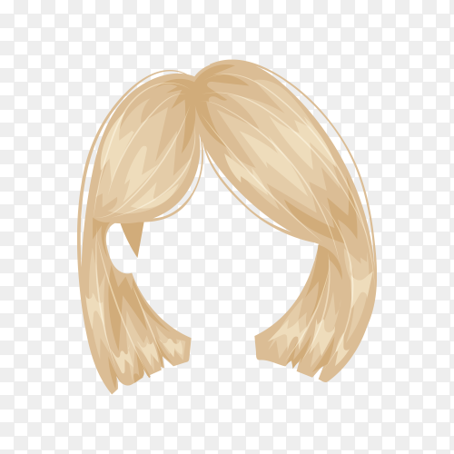 Hairstyle hair of woman isolated on transparent background PNG