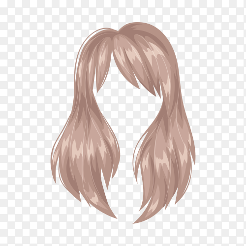 Hairstyle hair of woman on transparent background PNG