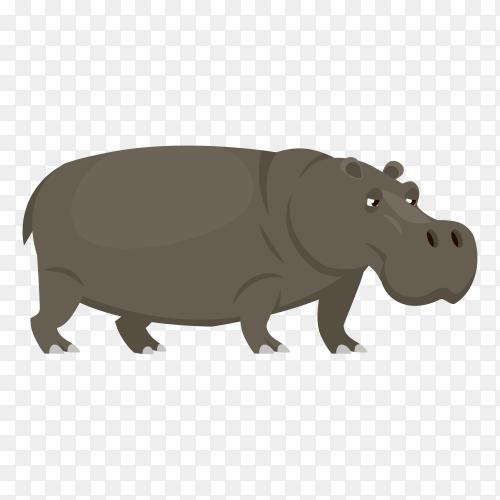 Hand drawn cartoon Rhino on transparent background PNG