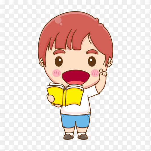 Hand drawn cartoon boy holding book on transparent background PNG