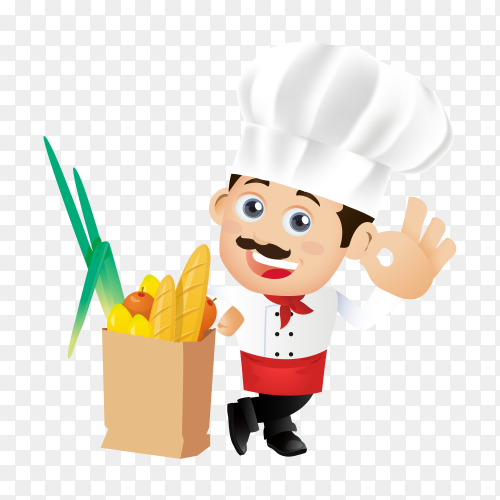 Hand drawn cartoon chef man on transparent background PNG