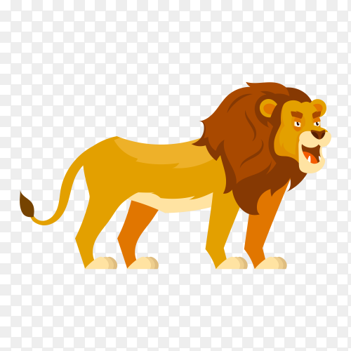 Hand drawn cartoon lion on transparent background PNG