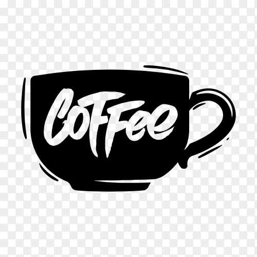 Hand drawn coffee logo on transparent background PNG