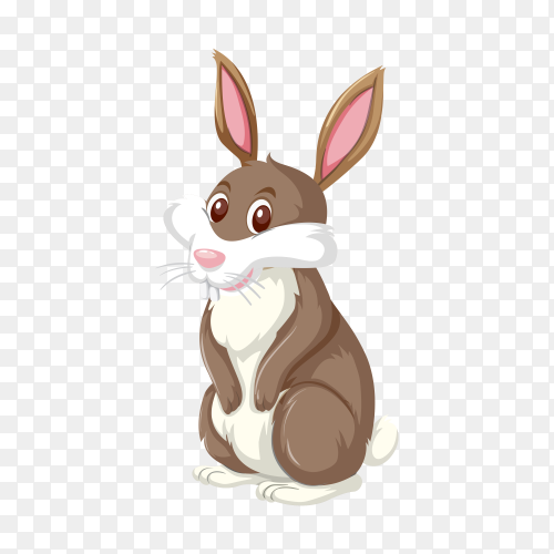 Hand drawn cute rabbit on transparent background PNG