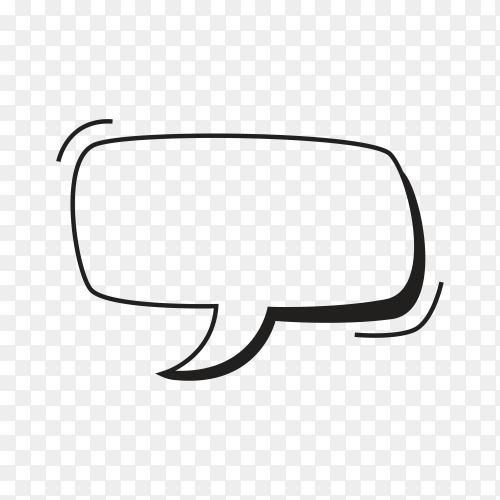 Hand drawn empty speech bubble comic on transparent background PNG