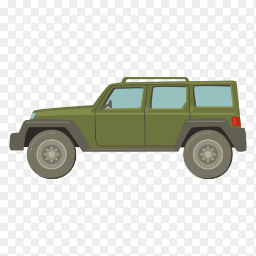 Hand drawn green car on transparent background PNG