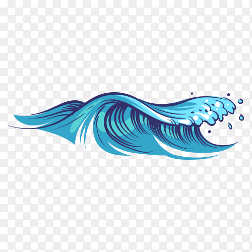 Hand drawn ocean waves on transparent background PNG