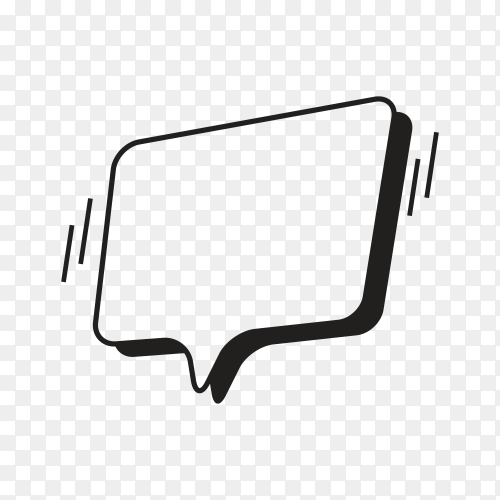 Hand drawn speech bubble comic on transparent background PNG