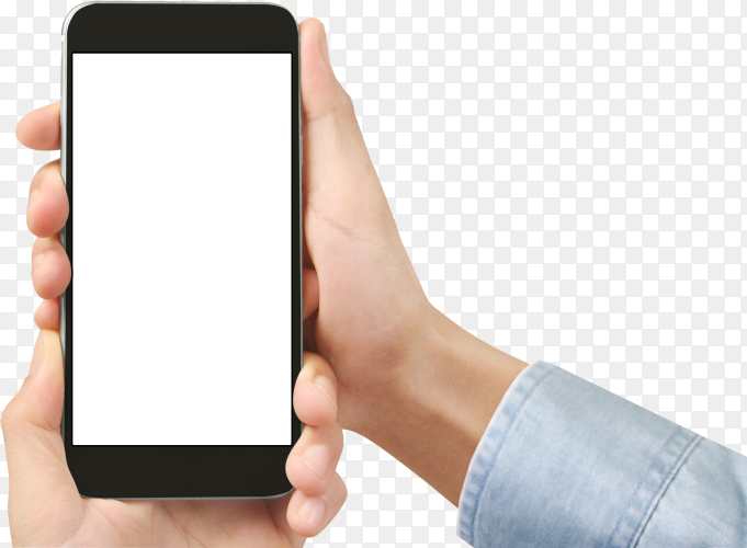 Hand holding smartphone device touching screen on transparent background PNG