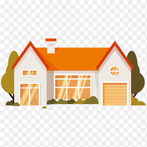Hand drawn house in flat design on transparent background PNG