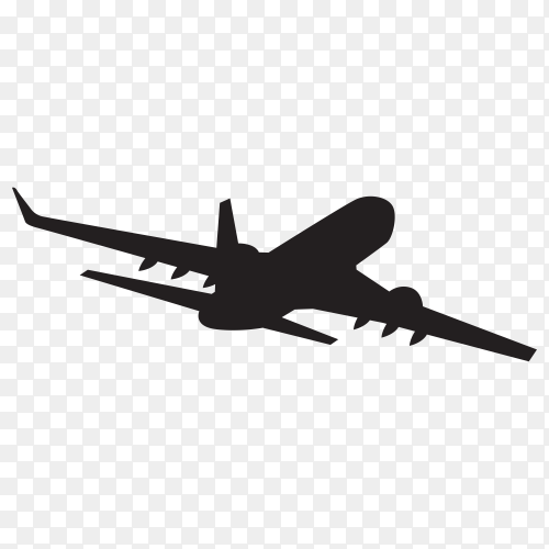 Illustration of Airplane silhouette on transparent background PNG