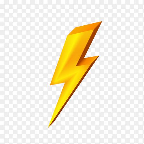 Illustration of Gold lightning icon on transparent background PNG