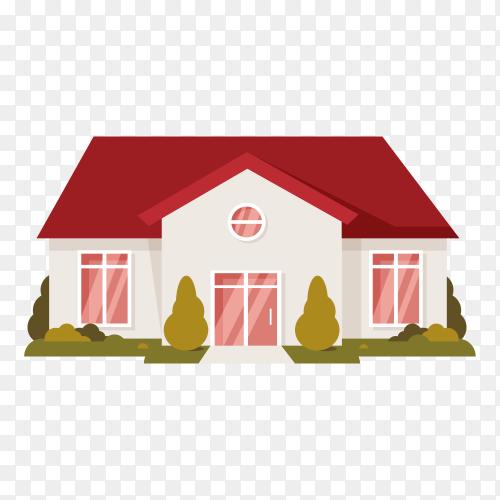 Illustration of house design on transparent background PNG